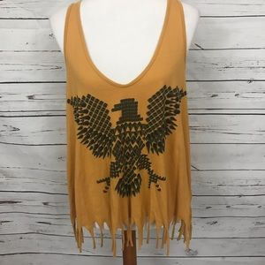 Truly Madly Deeply Fringed Tank Gold Size Large